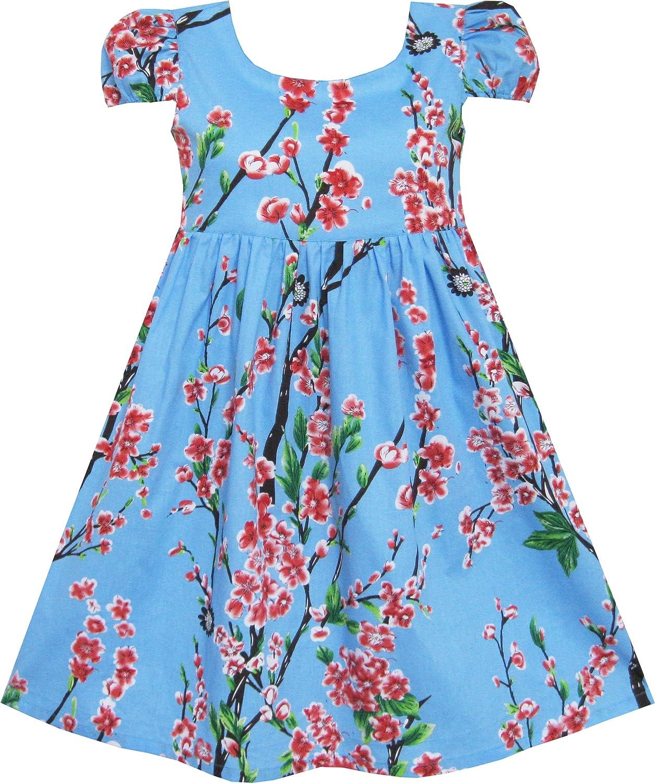 Sunny Fashion Vestido para niña Azul Flor Manga Corta Fiesta ...