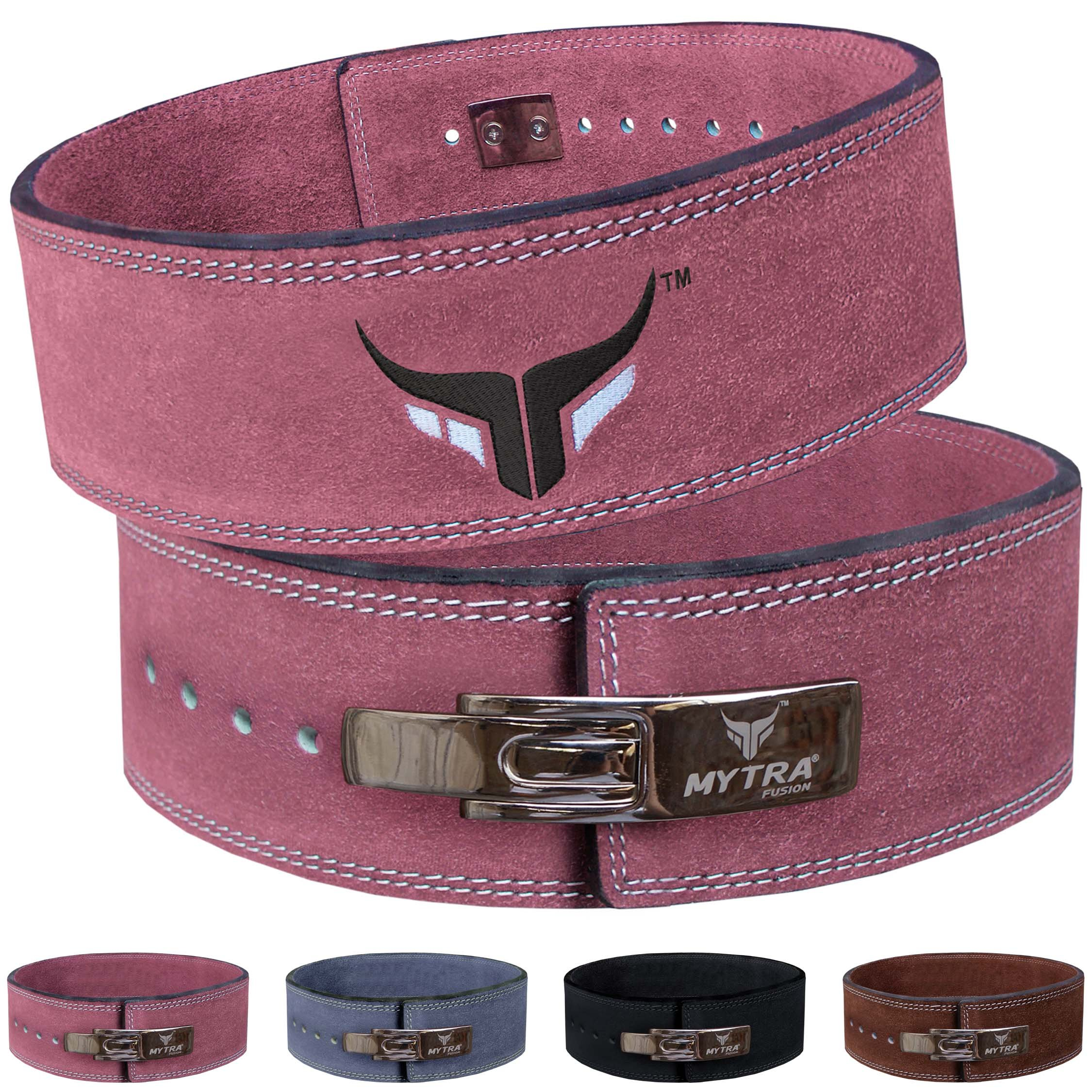 Mytra Fusion Leather Weight Lifting Power Lifting Back Support Belt Weight Lifting Belt Men Weight Lifting Belt Women Weightlifting Belt (Small, Pink)