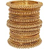 Mansiyaorange Traditional Fancy Designer Party Hand Work Antique Golden Bangle Set for Women