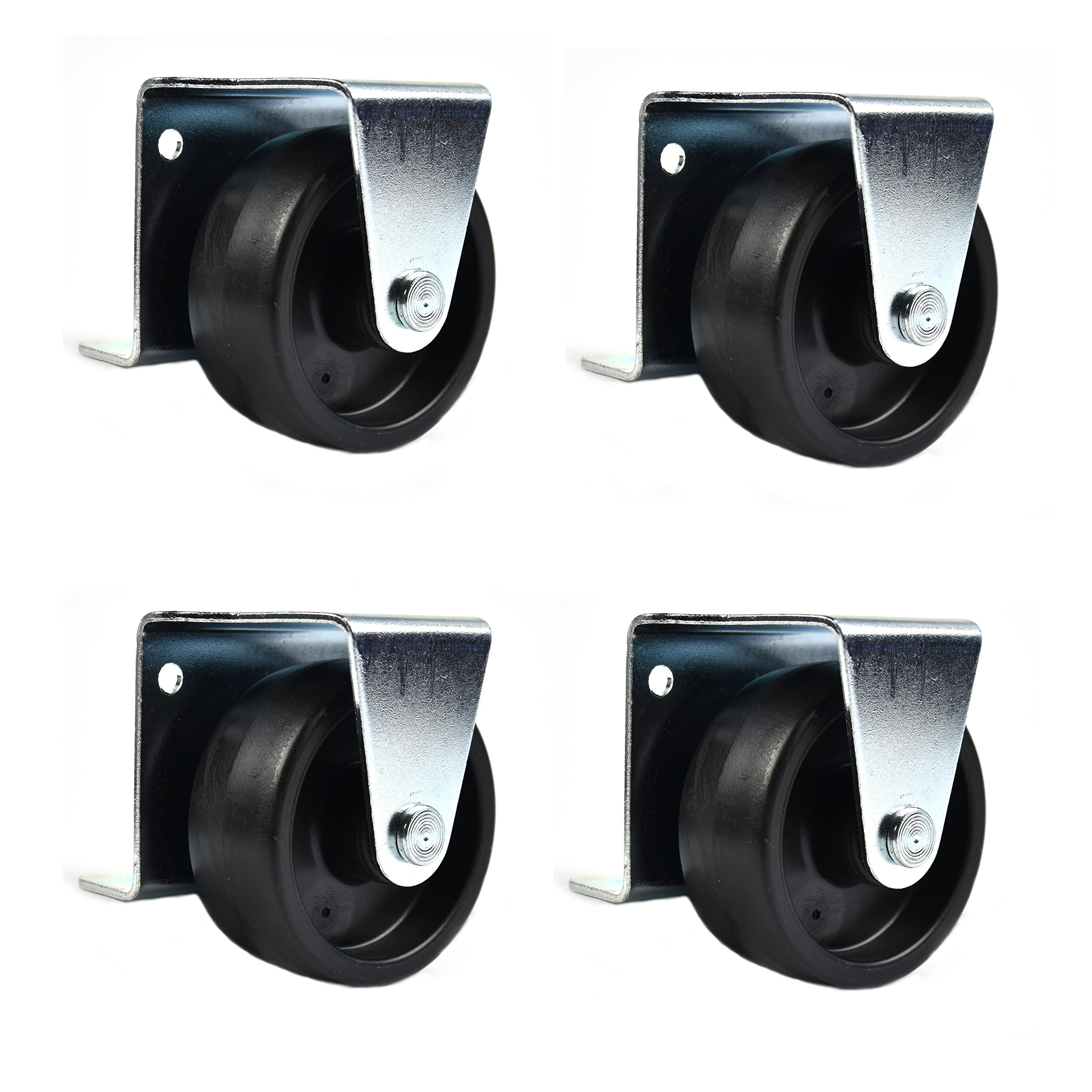 Low Profile Casters/ Wheels for Trundle Roll Out Beds or Cabinets - 2 Inch Wheels - Set of 4 (SCREWS INCLUDED) - by Combo Solutions