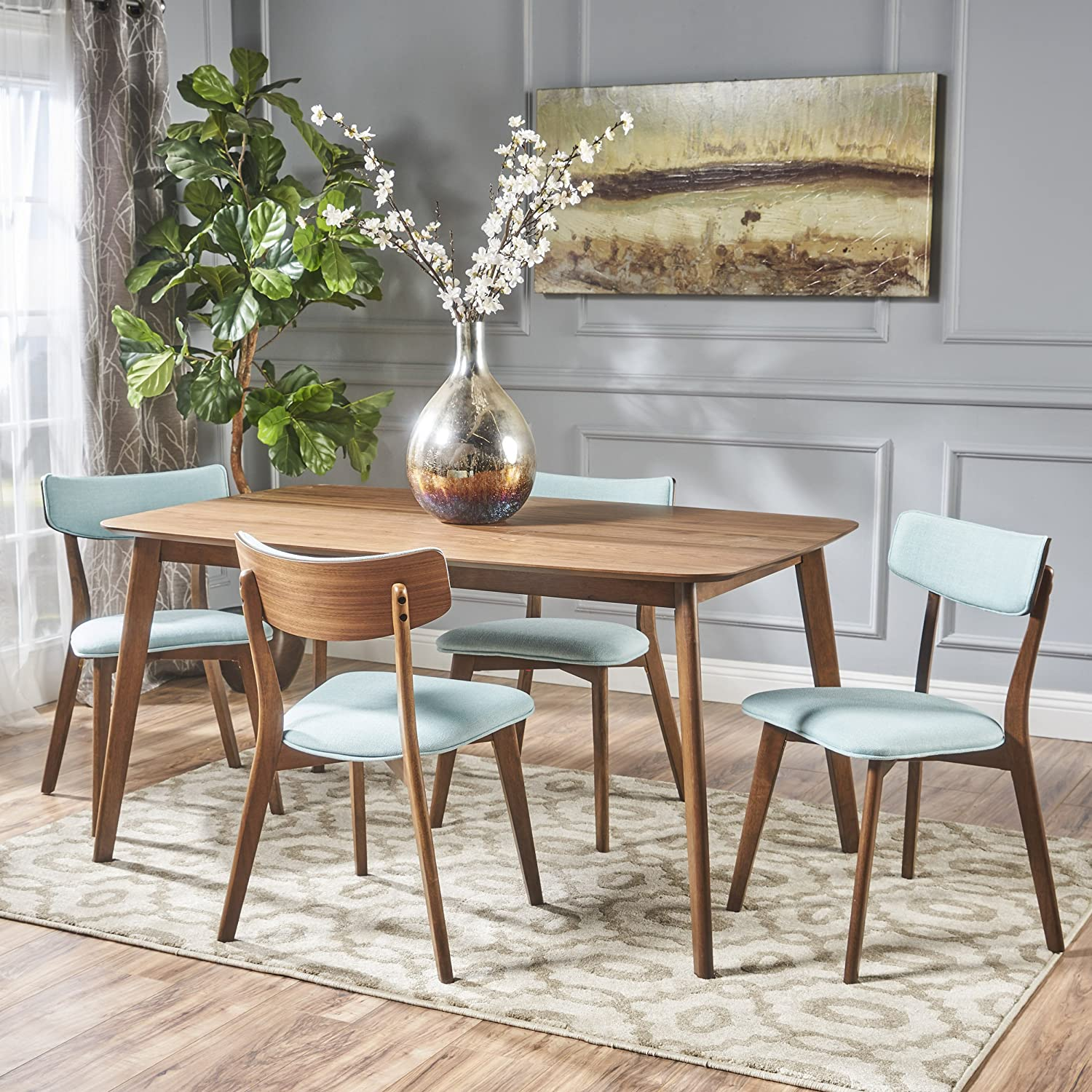 Aman Mid Century Natural Walnut Finished 5 Piece Wood Dining Set with Mint Fabric Chairs