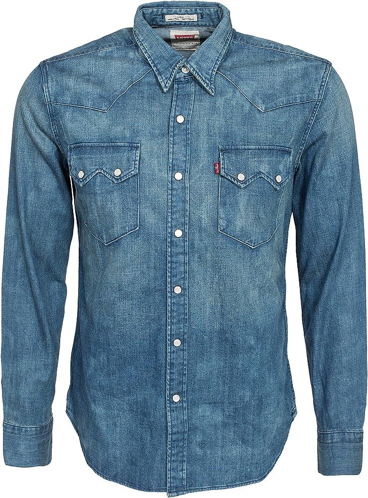 Levis - L/S Sawtooth Western hombre Azul Denim Taille Small 100% algodón: Amazon.es: Ropa y accesorios