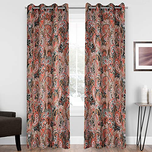 HUTO Red and Brown Paisley Printed Damask Floral Pattern Blackout Curtains 84 Inches Long