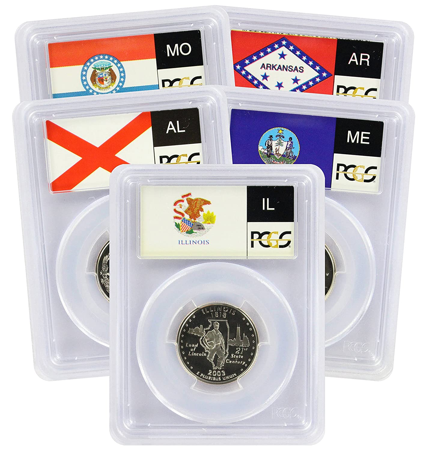 Flag 2003-S Clad State Quarter Set PR69DCAM PCGS Proof 69 Deep Cameo 5 Coins
