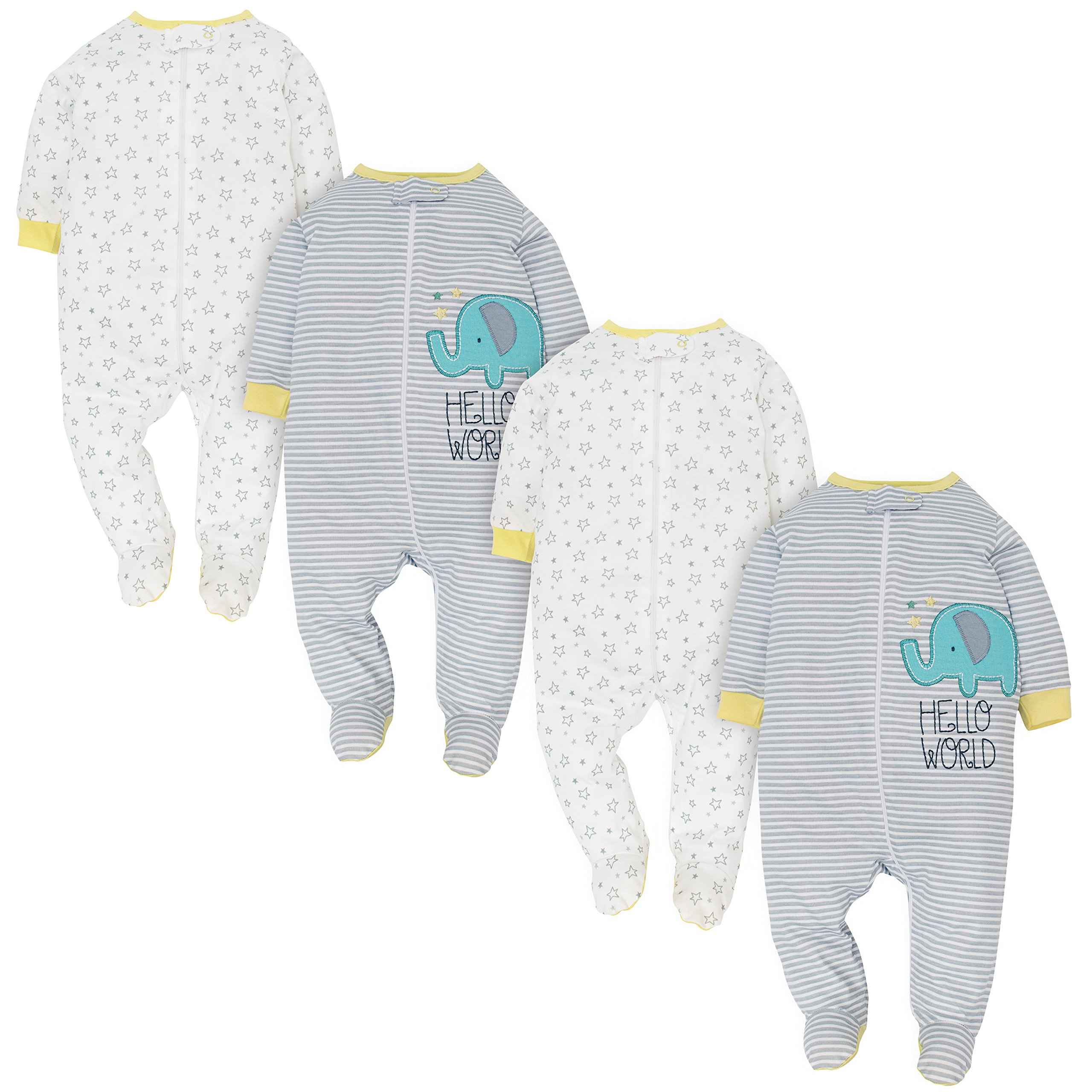 Gerber Baby 4 Pack Sleep and Play, Little Zoo, 0-3 Months