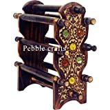 Pebble Crafts Handmade Wooden Bangle Holder Jewellery Stand With 6 Rods