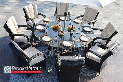 Brooks ratán muebles de jardín marrón Tokio 8 plazas 180 cm mesa y 4 ...