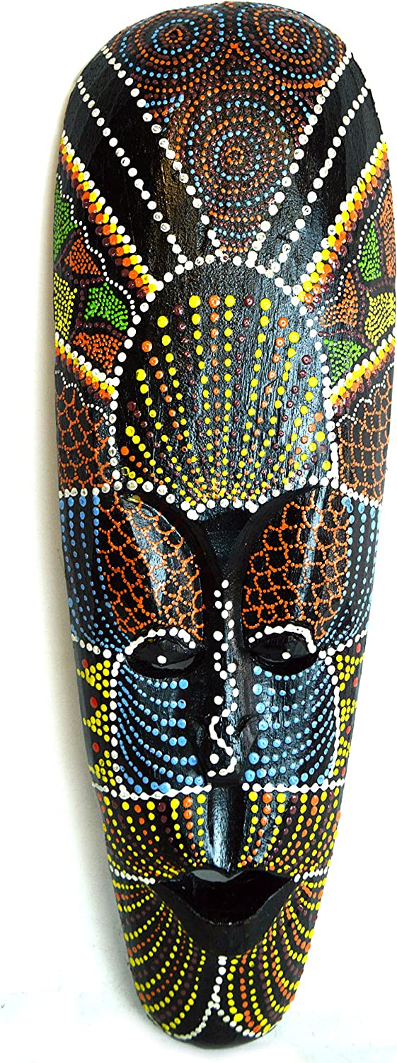 Amazon Com African Hand Carved Aboriginal Dot Art Wooden Tribal Mask Wall Decor Home Kitchen