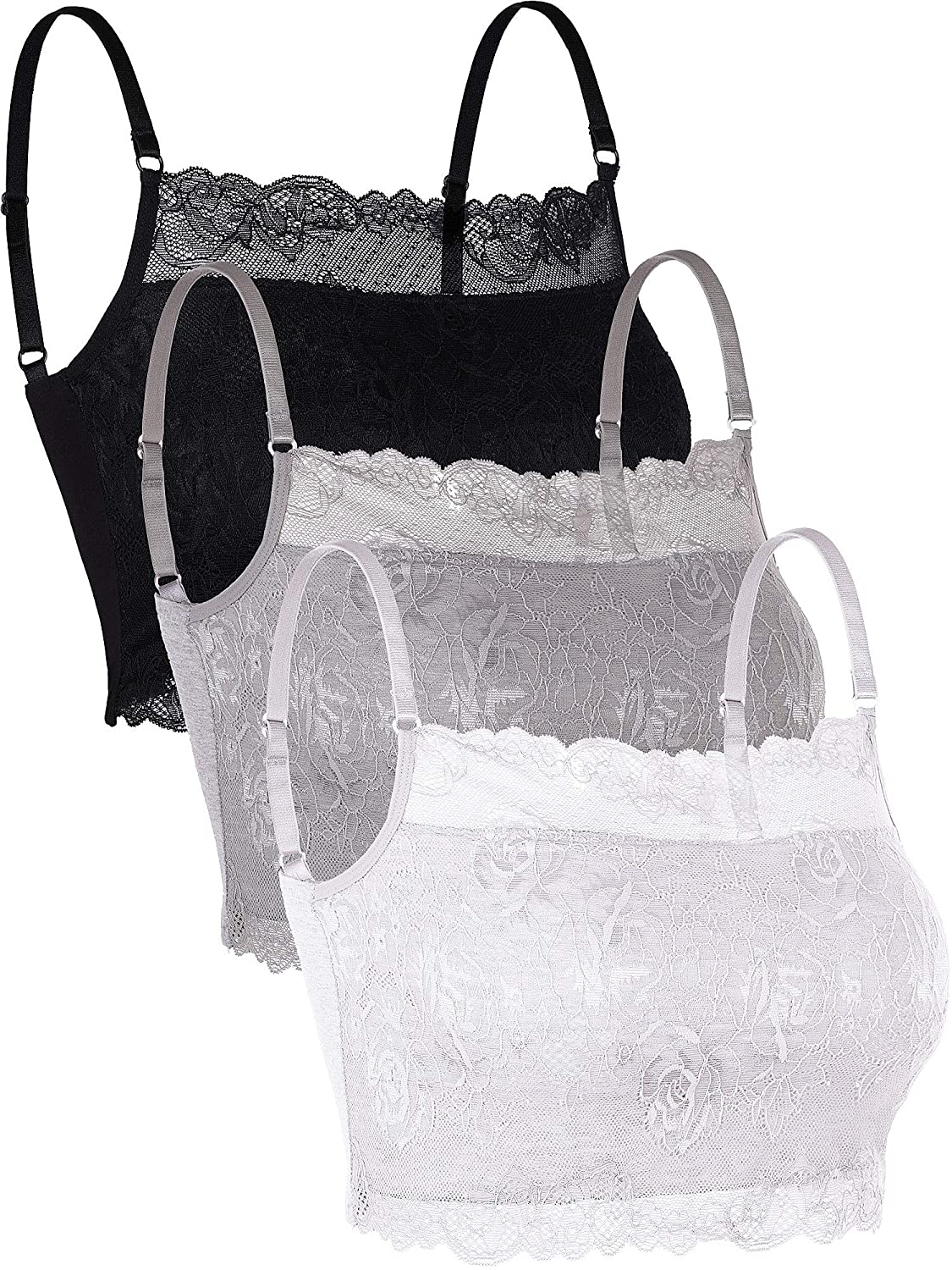 Skylety 3 Pieces Lace Cami Half Lace Camisole Neck Lace Bralette Top for Women Girls