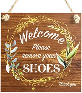 """Level Up Now Please Remove Your Shoes Sign Welcome Thank You Shoes Off Sign, 9"""" x 9"""" Front Door Remove Shoes Sign for Home and Gift, Decorative Wood Wall Hanging Signs,"""