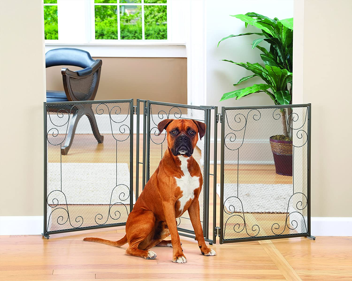 Amazon Indooroutdoor Scroll Metal 3 Section Pet Gate With