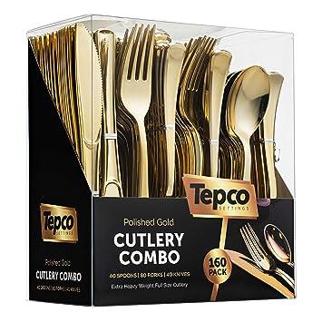 Dorado plástico cubiertos Set – plástico dorado – Juego de cubiertos desechables flastware oro – 80