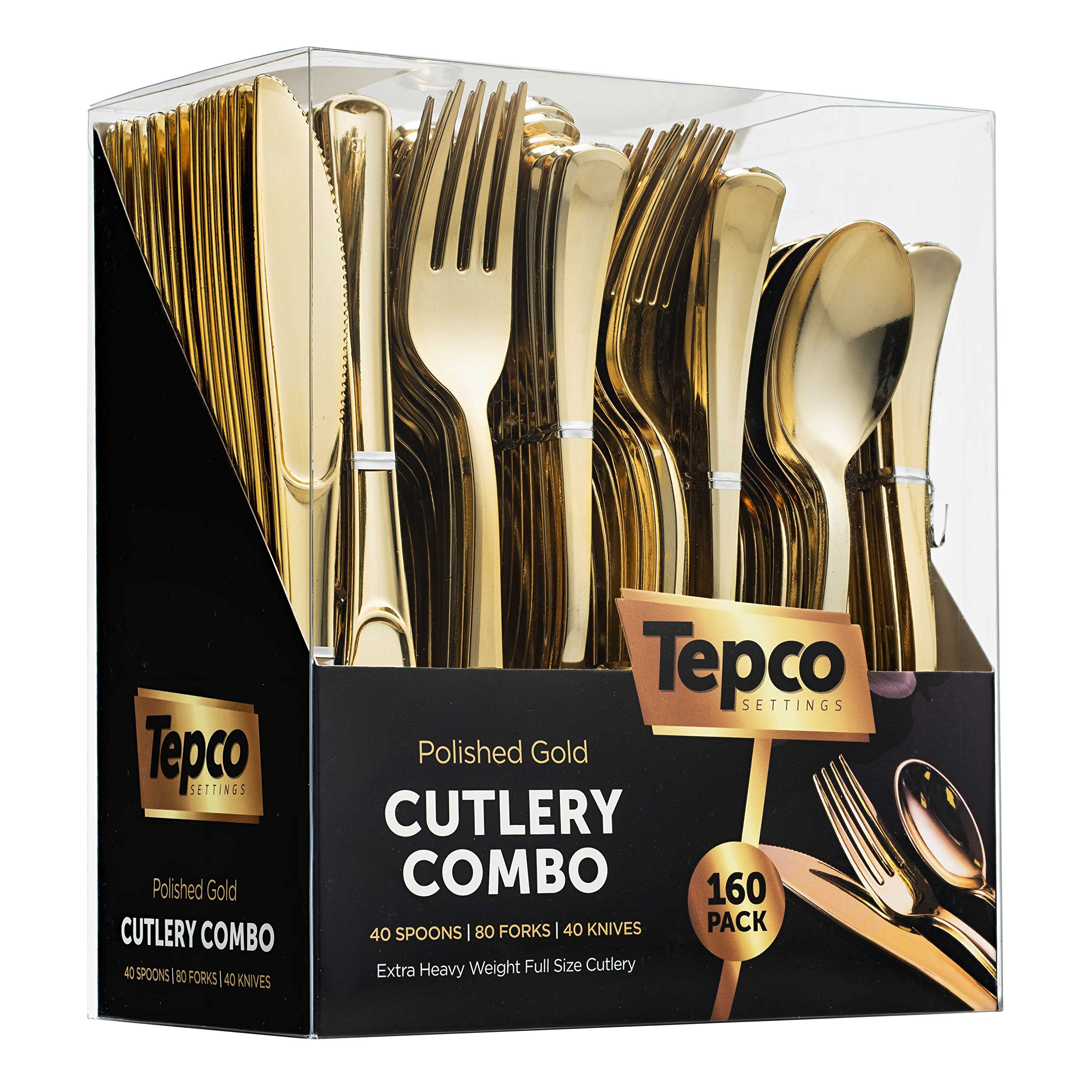 160 Plastic Silverware Set - Plastic Cutlery Set - Disposable Flatware - 80 Plastic Forks, 40 Plastic Spoons, 40 Cutlery Knives Heavy Duty Silverware for Party Bulk Pack (Gold) by Tepco
