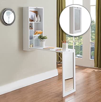 Kings Brand White Finish Wood Fold Out Convertible Wall Mount Desk With  Mirror