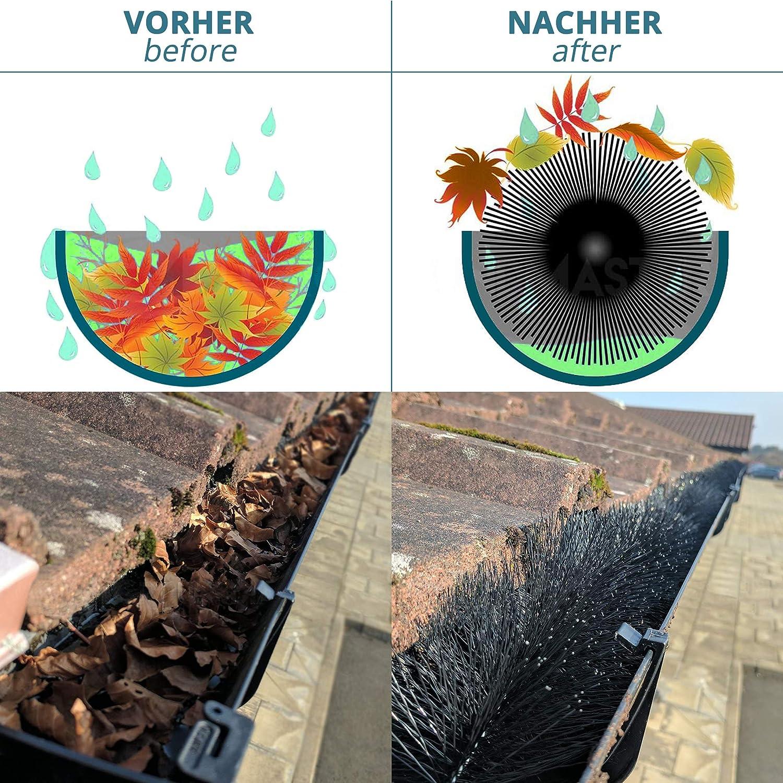 GESCHENK: Gartenhandschuhe/… 4-24m lang 12 cm Durchmesser in Schwarz smartpeas Dachrinnenb/ürste als Laub- Vogel- /& Marderschutz
