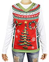 Ugly Christmas Sweater Vest Long Sleeve T-Shirt, Unisex Adult Size