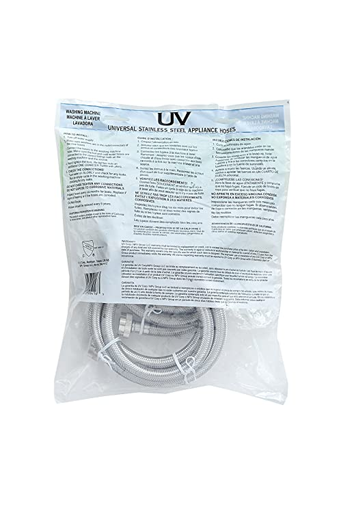 Amazon.com: UV Hot and Cold Washing Machine Connector Kit (2 Pack). Braided Stainless Steel-3/4-Inch Hose Fitting X 3/4-Inch Hose Fitting, 5-Feet (60-Inch) ...