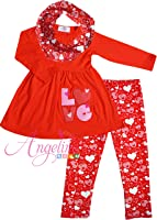 Angeline Boutique Clothing Girls Valentines Day Heart Scarf Set