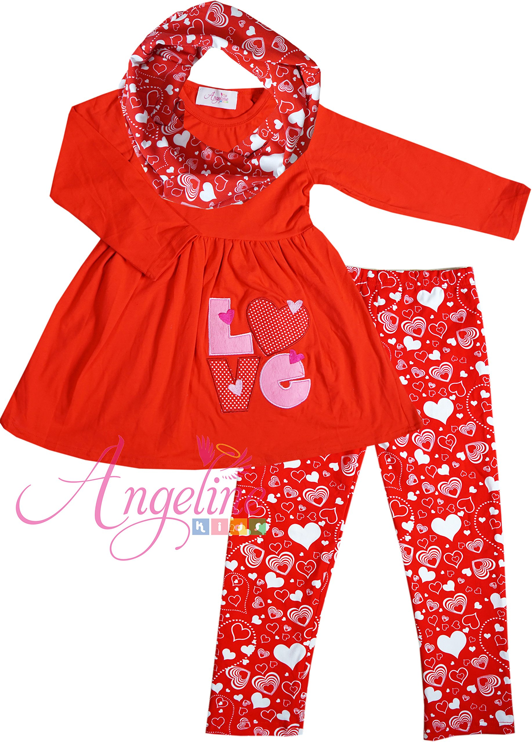 Boutique Clothing Valentine's Day Love Embroidery Heart Party Legging Set Set 2T/XS
