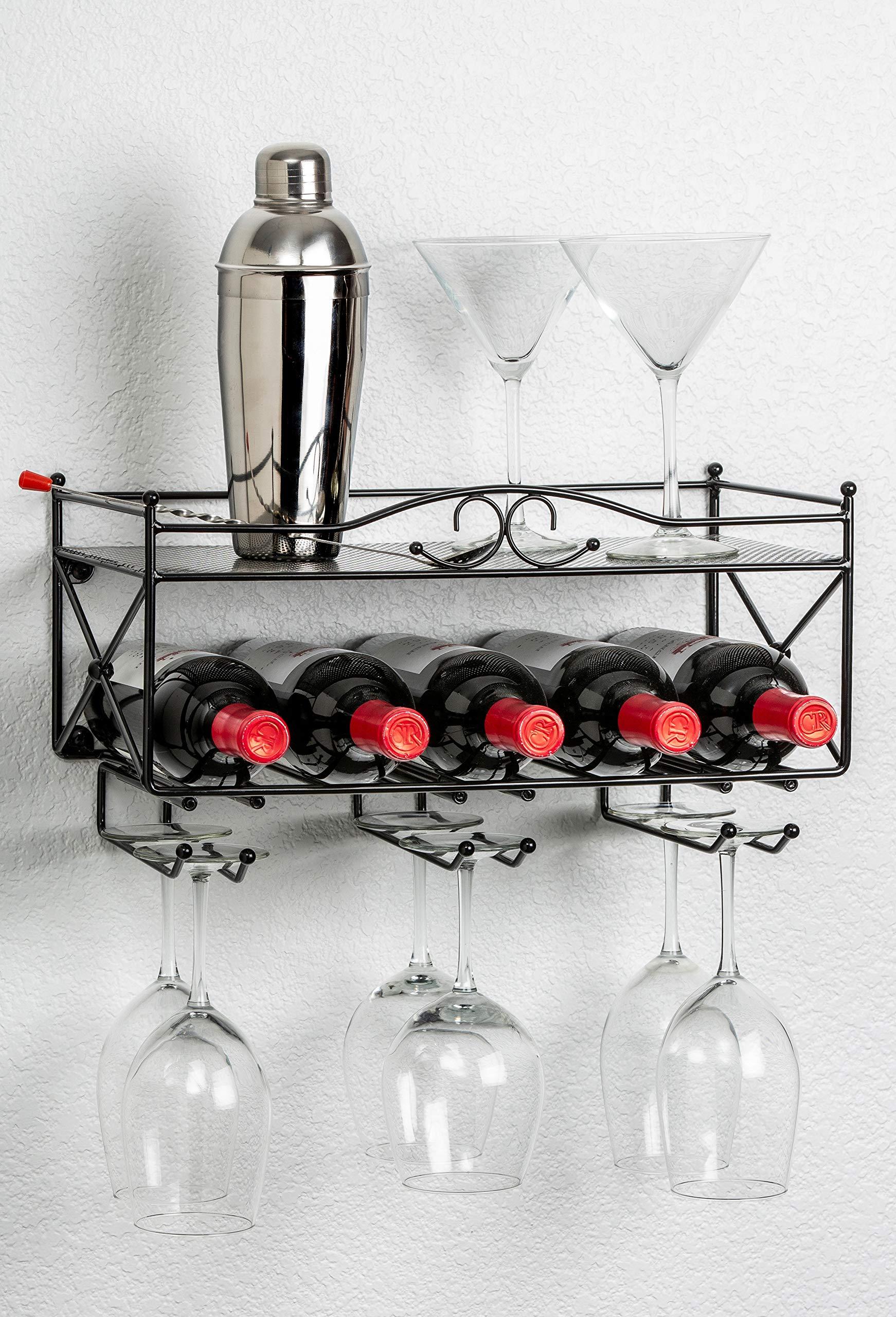 Mango Steam Wall-Mounted Wine Rack with Shelf and Stemware Glass Holder by Mango Steam
