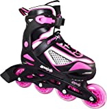 Inline Skates for Girls with Adjustable Sizing | Lenexa Venus Kids in-line roller skate blades | Comfortable fit | Safety non-slip wheels | Made for Fun (Black/Pink)