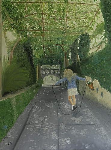 Jardín secreto, pintura al óleo, 60x80cm.: Amazon.es: Handmade