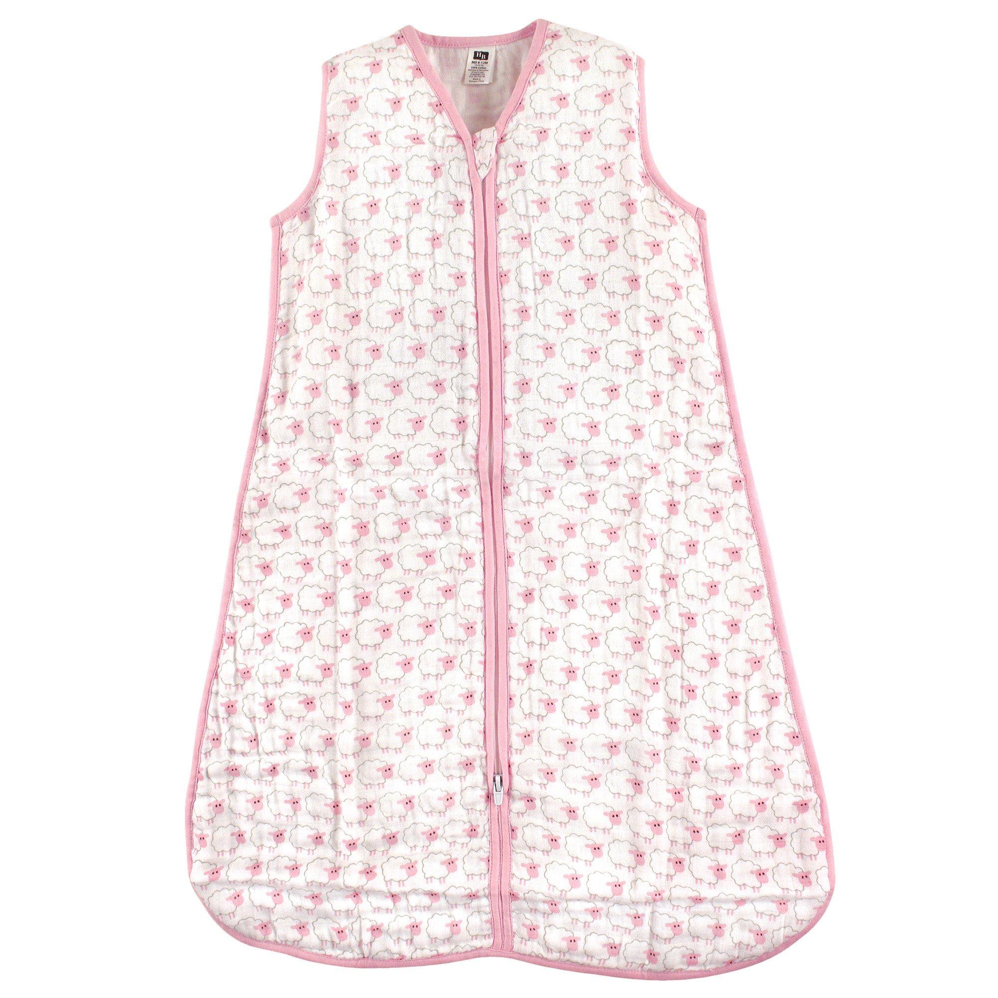 Hudson Baby Unisex Baby Safe Sleep Wearable Muslin Sleeping Bag, Pink Sheep 1-Pack, 6-12 Months by Hudson Baby