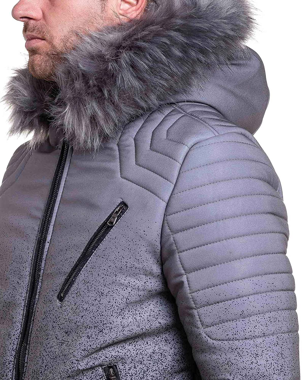 Project X - Jacke Kurze graue und schwarzer Pelz mit Kapuze Mann - Color   Grau, Size  XS S  Amazon.de  Bekleidung bd25db424a
