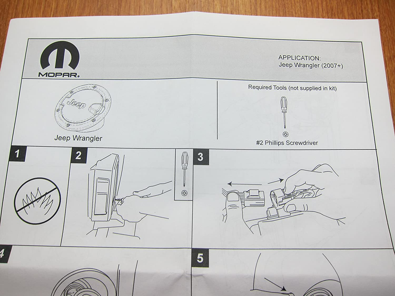 Jeep Wrangler Unlimited Black Satin Gas Cap Fuel Door Mopar OEM
