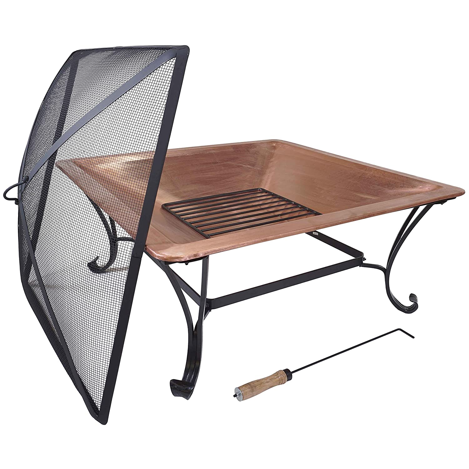 Titan 33 Square Copper Fire Pit Wood Burning Patio Deck Grill with Log Grate