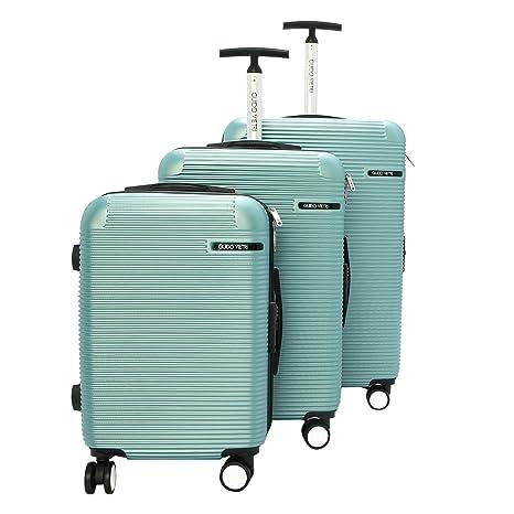 Juegos de maletas de equipaje pequeño-medio-grande Guido Vietri color Teal viajes