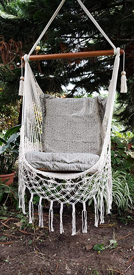 Pleasing Amazon Com Handmade Hammock Chair With Macrame Edge Cotton Pabps2019 Chair Design Images Pabps2019Com