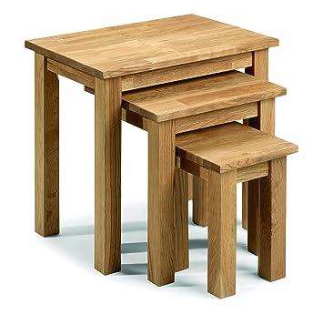 Julian Bowen Coxmoor Solid Oak Nest Of Tables Oak Amazon Co Uk
