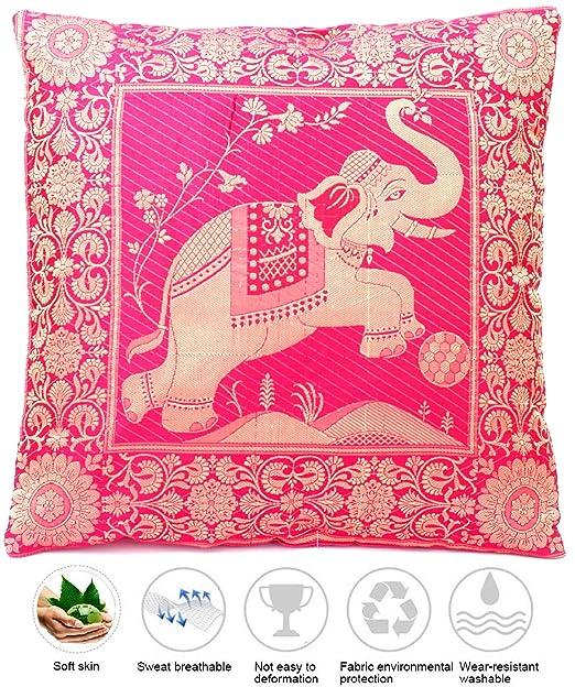 Funda de cojín de seda rosa con estampado de elefante ...