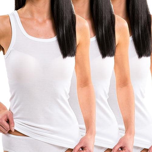 HERMKO 1325 Kit de tres camisas interiores para mujer de diferentes colores, hechas de algodón 100% ...