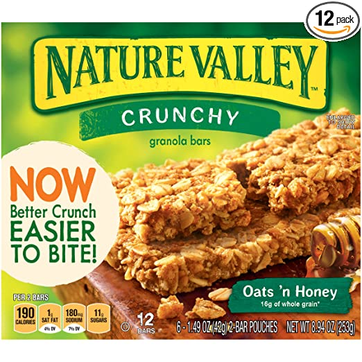Nature Valley Crunchy Granola Bar, Oats 'N Honey, 8.94 oz (Pack of 12)