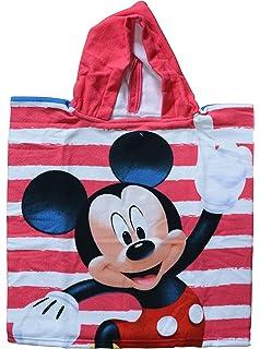 Mickey Mouse - Mickey Poncho-toalla infantil microfibra con capucha, 50x100 cm toalla,