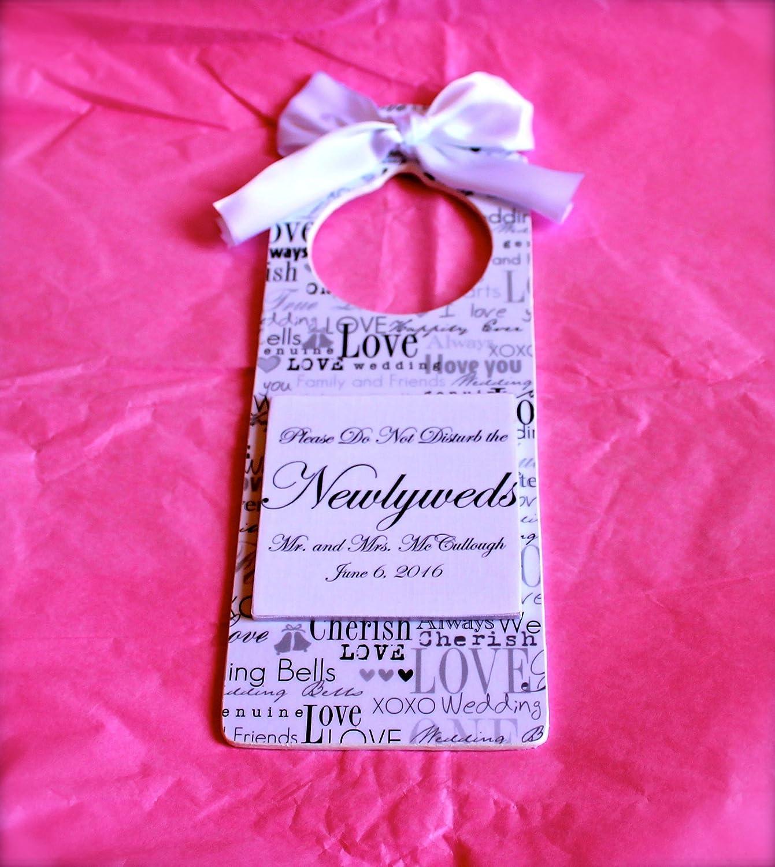 Amazon.com: Custom Handmade Wedding Room Door Hanger for Newlyweds ...