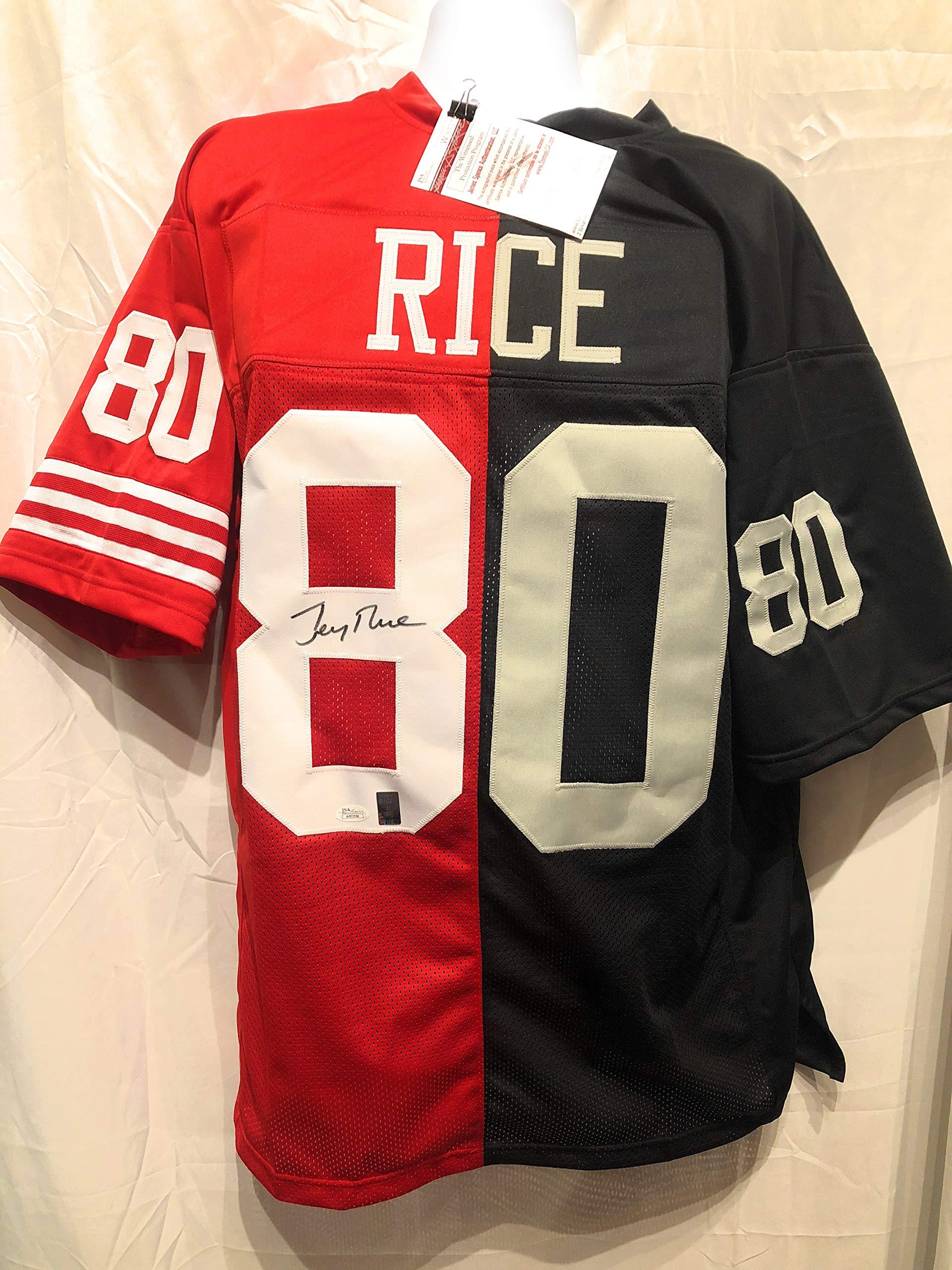 Jerry Rice San Fransico 49ers Raiders Signed Autograph Custom Rare Split Team Jersey JSA Witnessed Certified