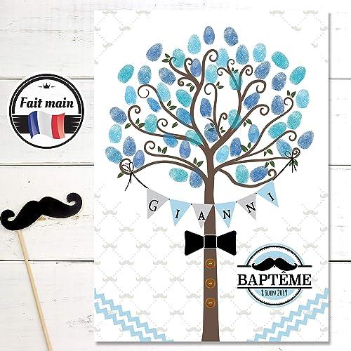 ordre bon marché style de mode Arbre à empreintes pour Baptême et anniversaire pour enfant- Format A4 ou  A3 - Thème Little Man pour garçon avec sa célèbre moustache
