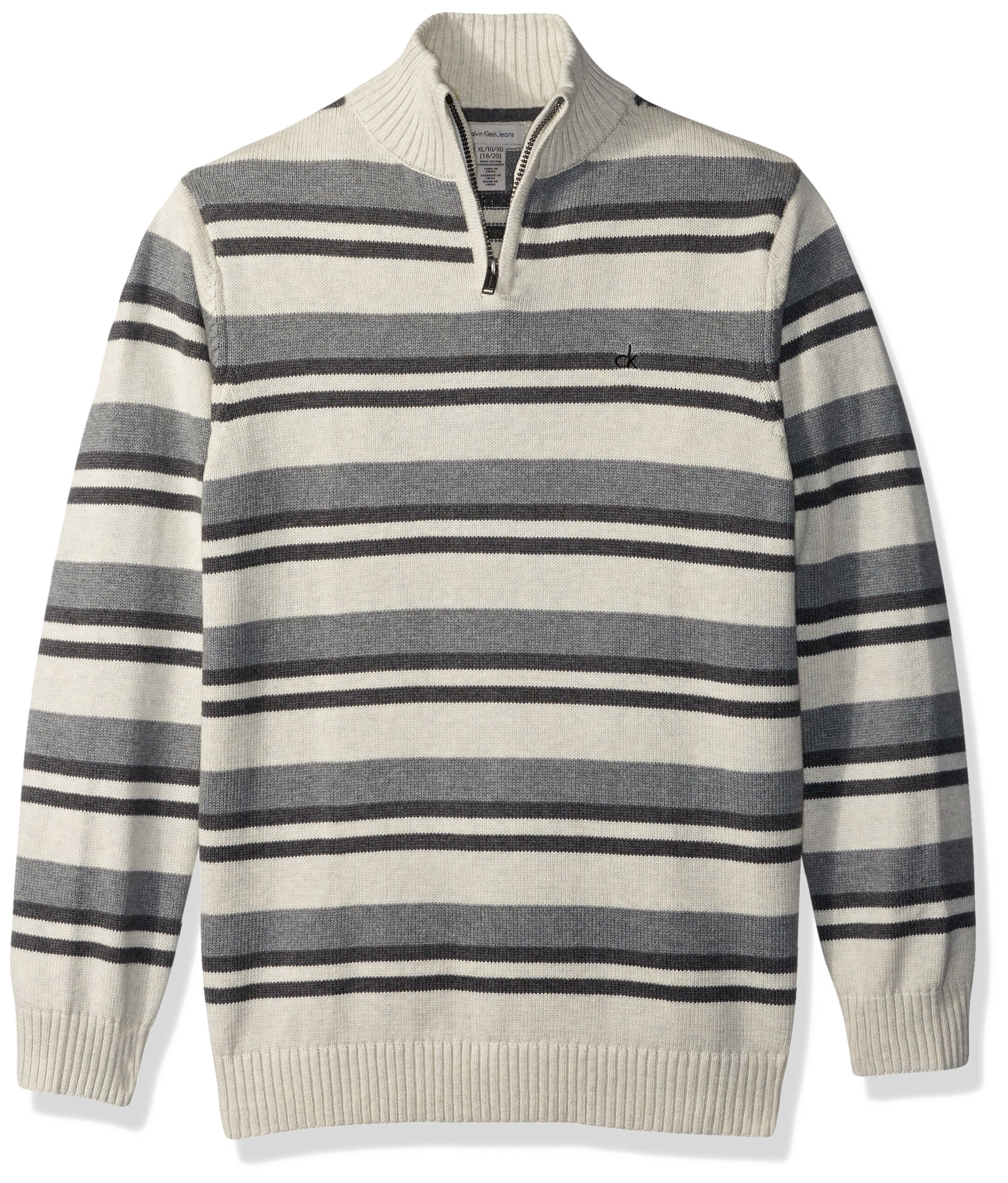 Calvin Klein Boys' Halt Stripe Half-Zip Sweater, Oatmeal Heather, 4