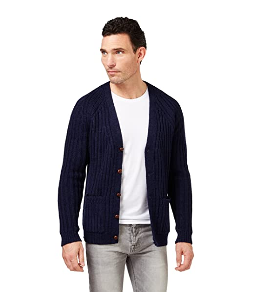 Wool Overs Pura Lana Inglesa Chaqueta Canalé Hombre Cuello Pico