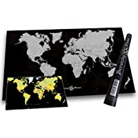 Scratchy Planet Mappa del mondo da grattare con design d'autore, mappa del mondo da grattare, atlante da grattare, mappa internazionale da grattare, mappa XL, versione design in argento-nero