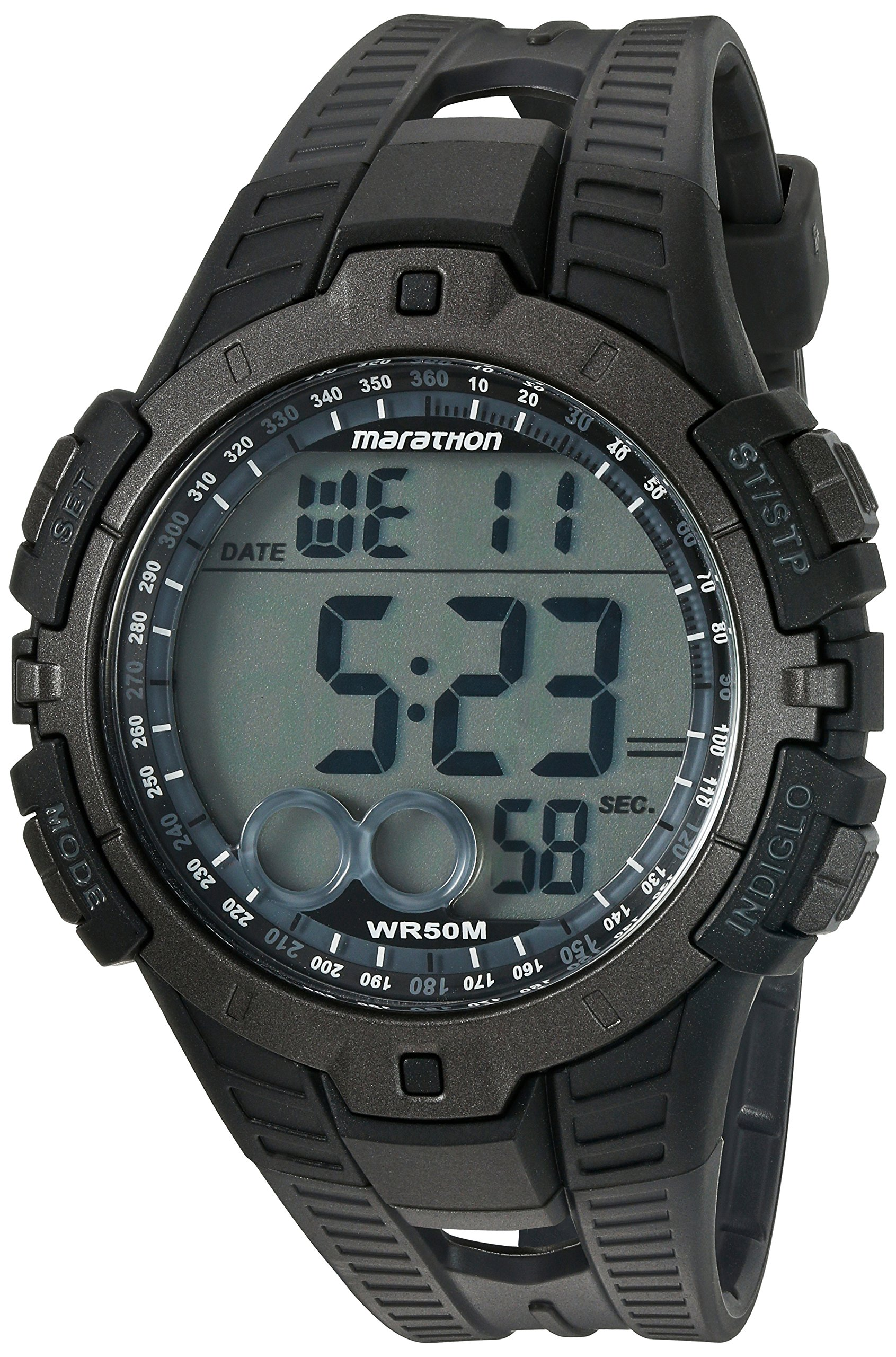 Marathon by Timex Men's T5K802 Digital Full-Size Black/Gray Resin Strap Watch by Timex