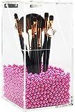 PuTwo Makeup Brush Holder Dustproof Acrylic Storage Box Makeup Organizer, Pink Pearl, Small, 37.39 Ounce