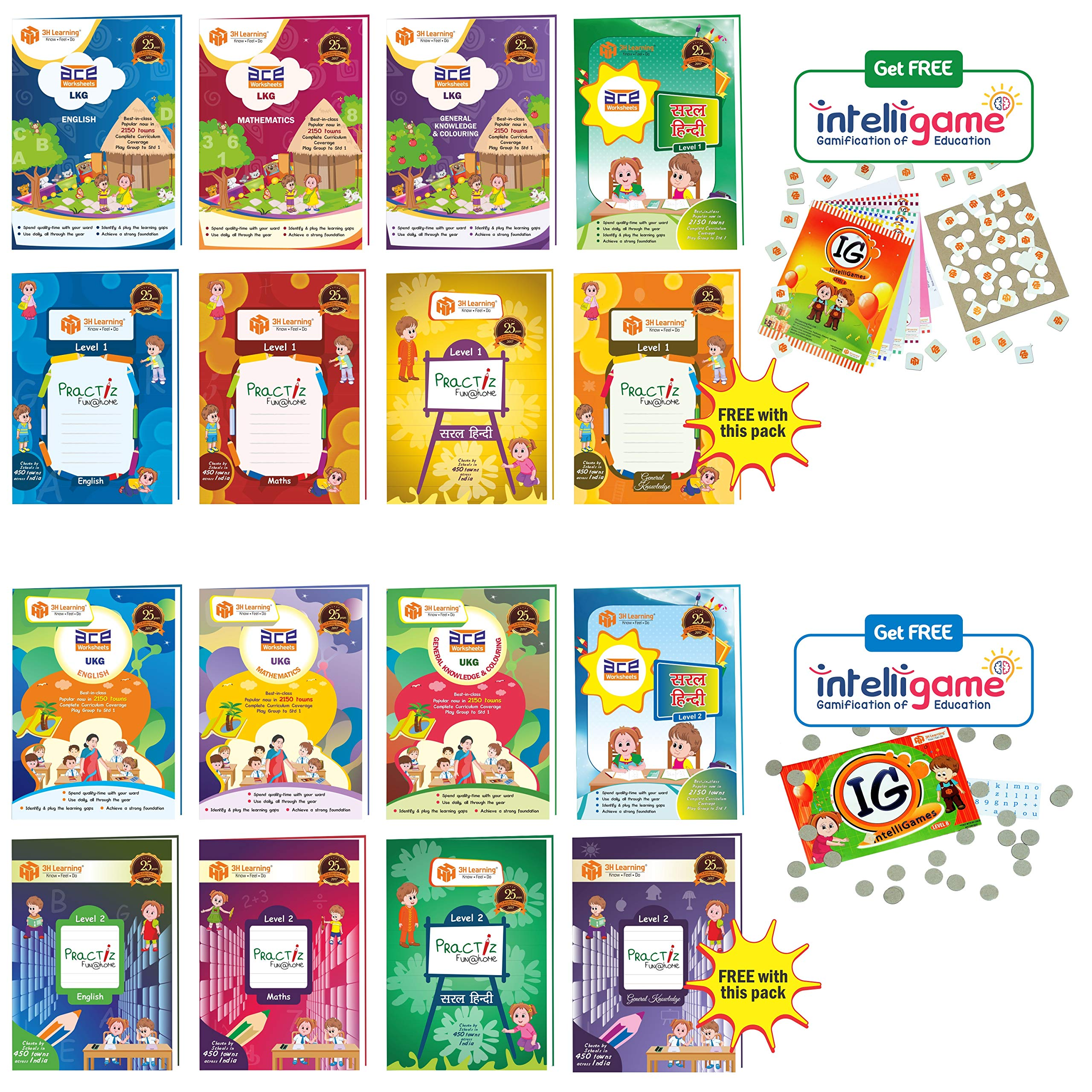 LKG & UKG Kids (3-6 Years) All-in-One 1248 Pages ACE Early Learning Worksheets for Nursery Kids , Toddlers, Pre Schoolers & Writing Practice in English, Mathematics, Hindi, General Knowledge / EVS (KG 1 & 2) 16 Books Bundle