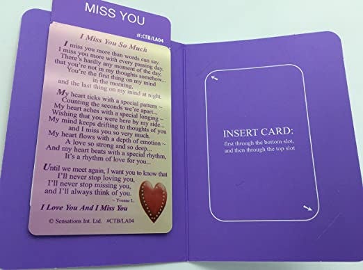 I Miss You So Much Sentimental Keepsake Wallet / Purse Card
