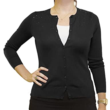 Central Park West Long-Sleeve Embellished Cardigan (Large, Black ...