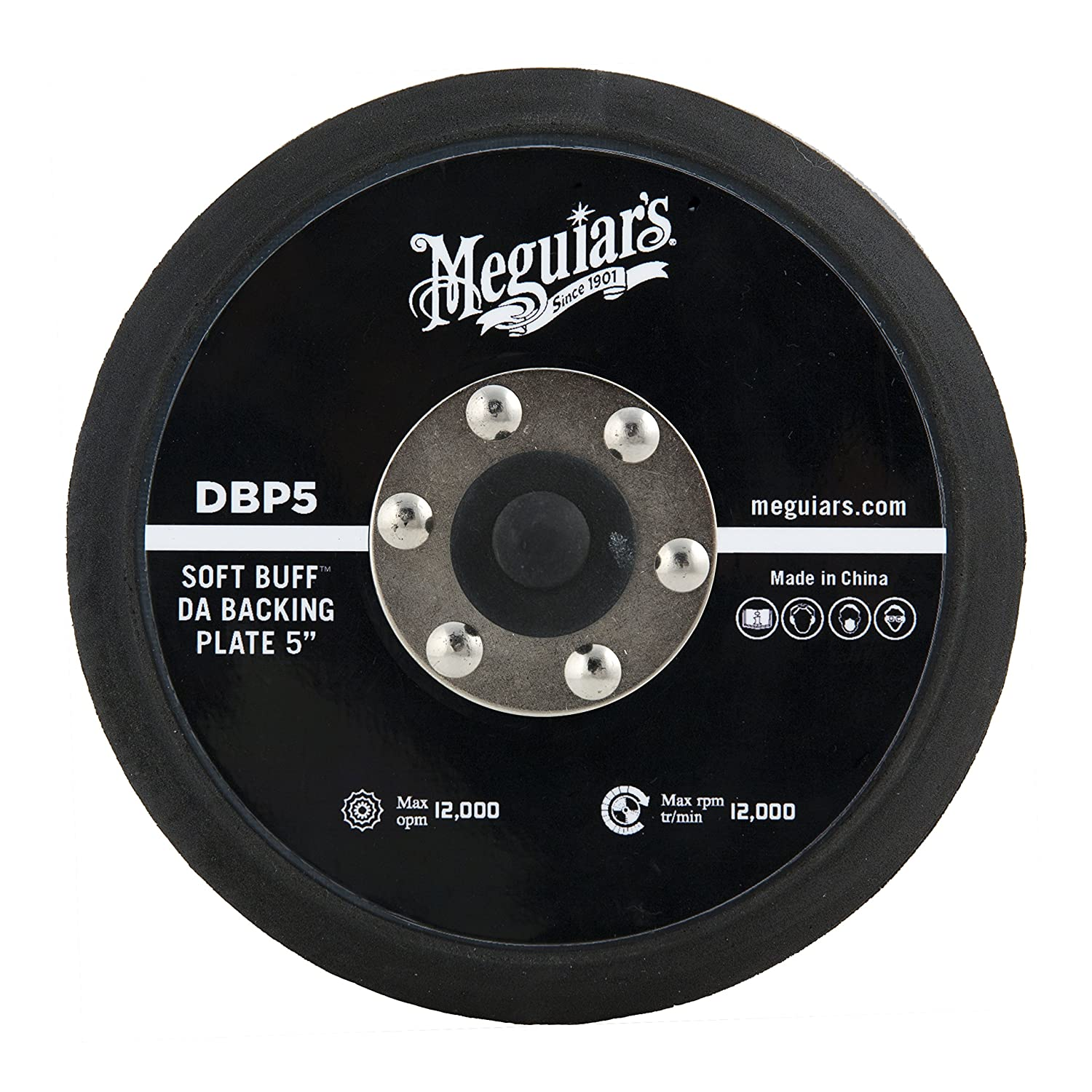 Meguiar's 5' Soft Buff DA Backing Plate – Use with MT300 Dual Action Variable Speed Polisher – DBP5