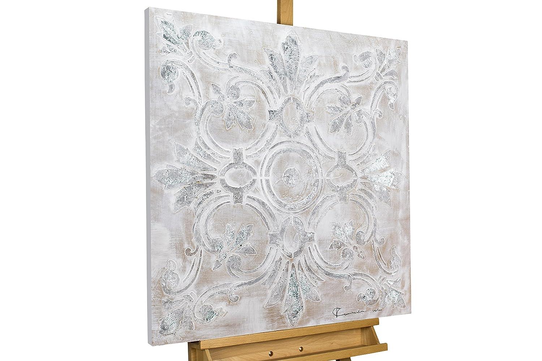 KunstLoft® Acryl Gemälde & 039;Prunkvoll& 039; 80x80cm   original handgemalte Leinwand Bilder XXL   Abstrakt Muster Ornament Grau   Wandbild Acryl bild moderne Kunst einteilig mit Rahmen